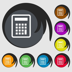 Calculator icon sign Symbol on eight colored vector image