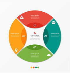 circle chart infographic template with 4 options vector image vector image