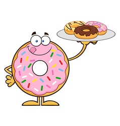 Donut Cartoon Holding a Plate of Donuts vector image vector image