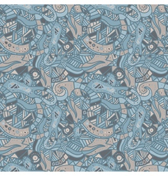 Hand drawn seamless pattern with wave and curl vector image