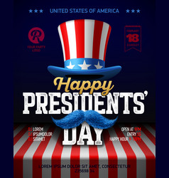 happy presidents day party poster design with vector image vector image