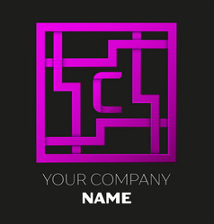 letter c symbol in colorful square maze vector image