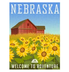 Nebraska travel poster or sticker vector
