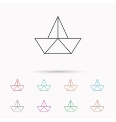Paper boat icon Origami ship sign vector image vector image