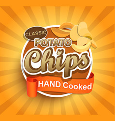 potato chips label vector image vector image