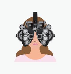 woman looking through phoropter during eye exam vector image vector image