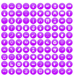 100 map icons set purple vector image