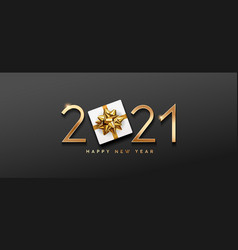 2021 happy new year gift box and gold bow ribbons vector image