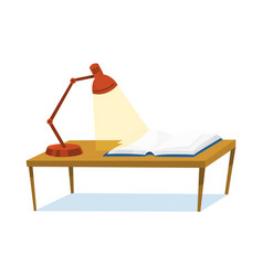 a table for learning and reading opened book and vector image