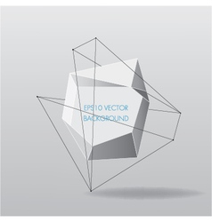 Abstract white geometric background with lines vector image