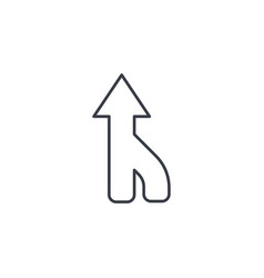 Arrow up direction connecting thin line icon vector