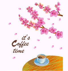 Banner spring leaves blooming cherry blossom coff vector
