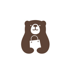 bear shop store shopping bag logo icon vector image