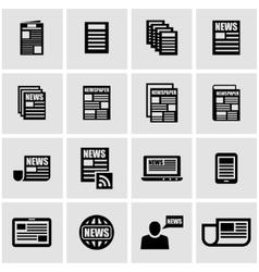 black newspaper icon set vector image