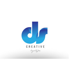 Blue gradient ds d s alphabet letter logo vector