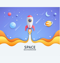 blue space galaxy with cartoon rocket leaving vector image