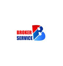 broker service letter b icon vector image
