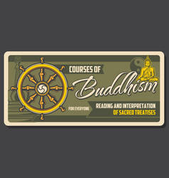 buddha dharma wheel buddism religion vector image