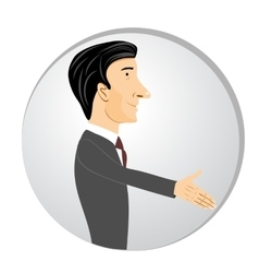 Businessman extending his hand for handshake vector
