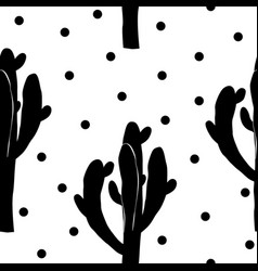 Cactus seamless pattern with saguaro cacti fabric vector