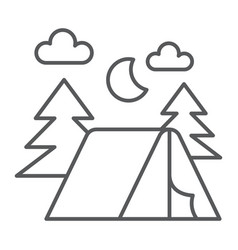 Camping thin line icon nature and hiking camp vector