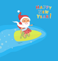 Cartoon santa claus surfer vector