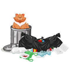 Cat sitting in trashcan vector
