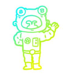 Cold gradient line drawing cartoon weird alien vector