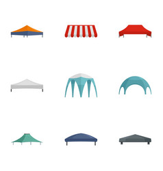 Commercial tent icon set flat style vector