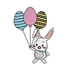 cute rabbit with balloons shaped eggs vector image