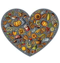 Doodle cartoon set of autumn objects symbols vector