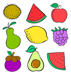 Doodle set of fruit various vector