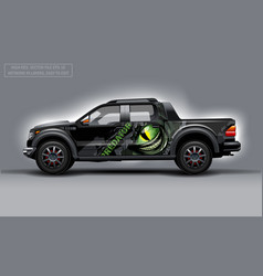 Editable template for wrap suv with scary eye and vector