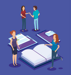 Education icons with teamwork paople isometric vector