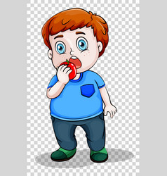 fat boy eating apple vector image