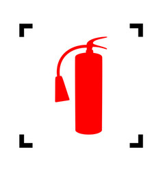fire extinguisher sign red icon inside vector image