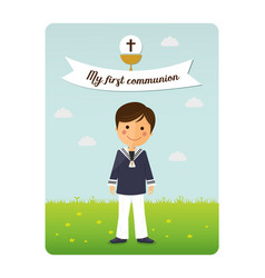 First communion child invitation with message vector