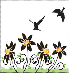 flowers-and-birds vector image