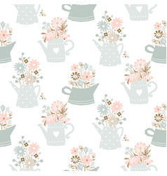 Flowers in watering can vintage colors seamless vector
