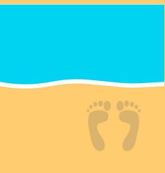 footprint on the beach vector image