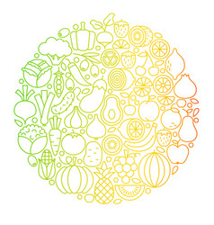 Fruit vegetable line icons circle vector