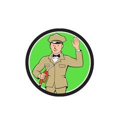 Gas jockey attendant waving circle cartoon vector