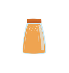 Glass jar with jam or juice in flat style isolated vector