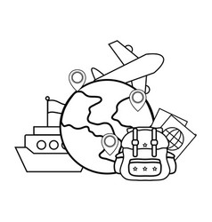 Globe with baggage vector
