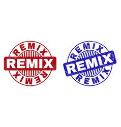 Grunge remix scratched round stamps vector