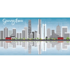 Guangzhou Skyline with Gray Buildings Blue Sky vector image
