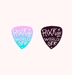 guitar plectrum or pick or mediator badge rock vector image
