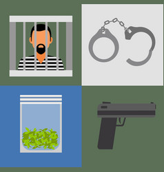 gun prison and drugs icons vector image