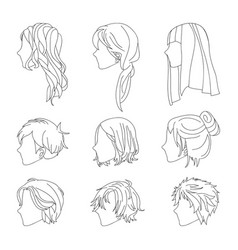 Hairstyle side view man and woman line vector