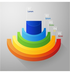 Half - circle colorful 3D diagram vector image